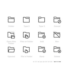 folders line icons set cancel open new folder vector image
