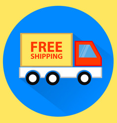 Free shipping truck flat vector