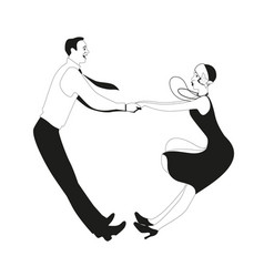 Funny couple wearing vintage clothes dancing vector