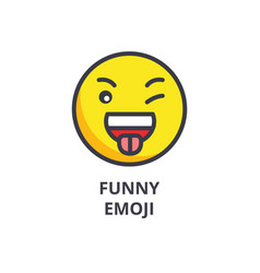 funny emoji line icon sign vector image