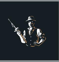 Gangster vintage logo vector