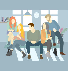 Group of people relaxing and chatting on a bench vector