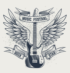 guitar with wings electric guitar and angel vector image