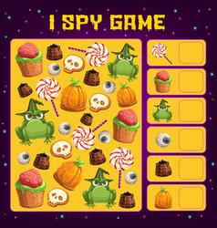 halloween i spy game template kids education vector image