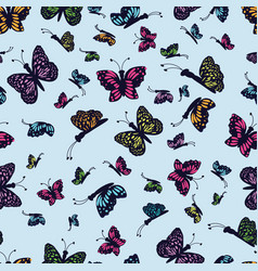 hand drawn multi colored butterfly on a light blue vector image
