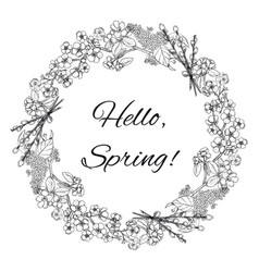 hand drawn spring floral wreath template vector image