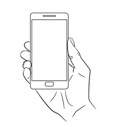 Hand holding a smart phone vertically vector