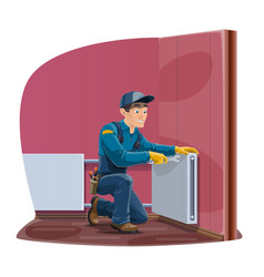 Home radiator and heating con repair service vector