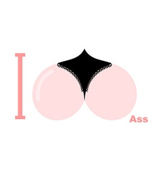 I love ass Symbol of heart of priests in his vector image