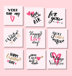 i love you text cards hand drawn valentine vector image