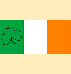 Irish flag with shamrock outline vector