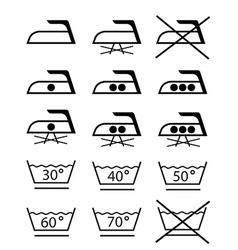 Ironing laundry symbols vector