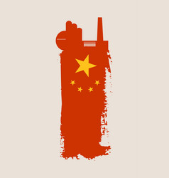 Isolated factory icon and grunge brush china flag vector