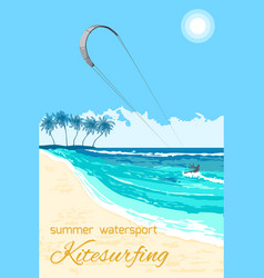 Kitesurfing summer watersport poster vector