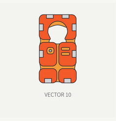 Line flat color beach rescue equipment icon vector