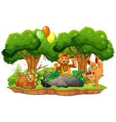 many bears in party theme in nature forest vector image