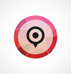 Map pin circle pink triangle background icon vector