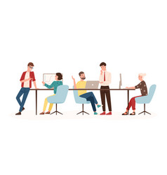 men and women sitting at desk and standing in vector image