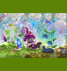 Mushroom in magic forest with fantasy wilds vector