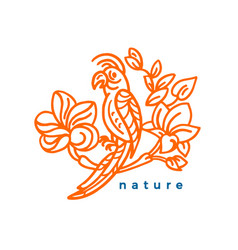 nature symbol tropical bird and flower leaves art vector image