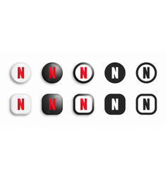 netflix modern 3d and flat icons set vector image