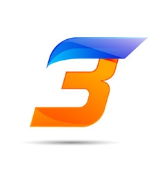 Number three 3 logo orange and blue color with vector image