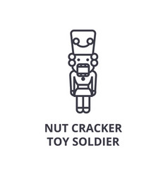 nut cracker toy soldier line icon outline sign vector image