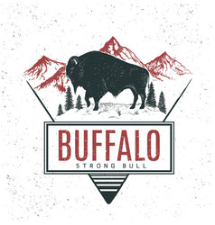 old retro logo with bull buffalo vector image