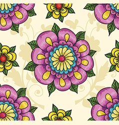 Pattern with flowers on a yellow background vector