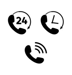 phone icon set in flat style telephone symbols vector image
