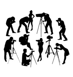 Photographer professional and model silhouettes vector