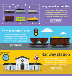 Railway station banner horizontal set flat style vector