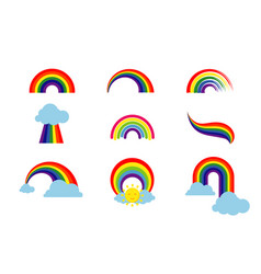 rainbow set isolated on white background vector image