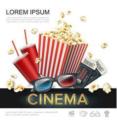 realistic cinema colorful template vector image