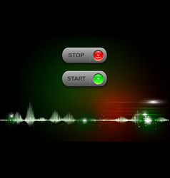 realistic start and stop button on abstract vector image