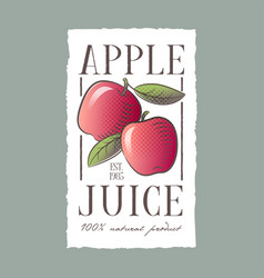 Red apple juice label healthy vegetables beverage vector