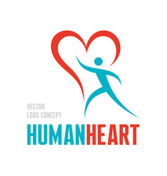 red heart - logo template vector image
