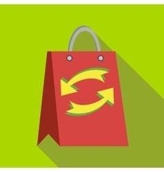 Red paper shopping bag with refresh arrows icon vector image