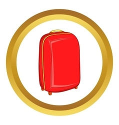 Red travel suitcase icon vector
