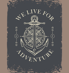 Retro travel banner with ship anchor and wind rose vector