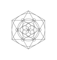Sacred geometry symbols with triangle hexagon vector