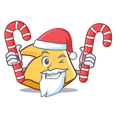Santa with candy fortune cookie mascot cartoon vector