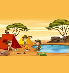 scene with kids camping in desert field vector image