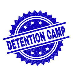 Scratched textured detention camp stamp seal vector