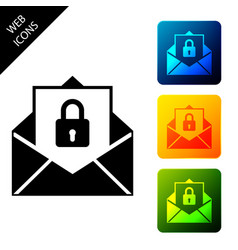 secure mail icon isolated mailing envelope locked vector image