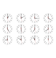 set clock dials showing various time isolated vector image