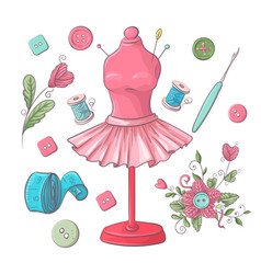 Set mannequin sewing accessories hand drawing vector