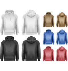 Set of black and white and colorful male hoodies vector
