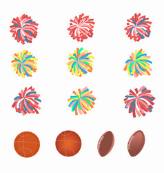 Set of multicolored pom-poms vector