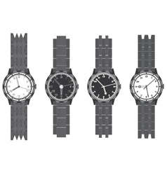 Set wristwatch with bracelet vector